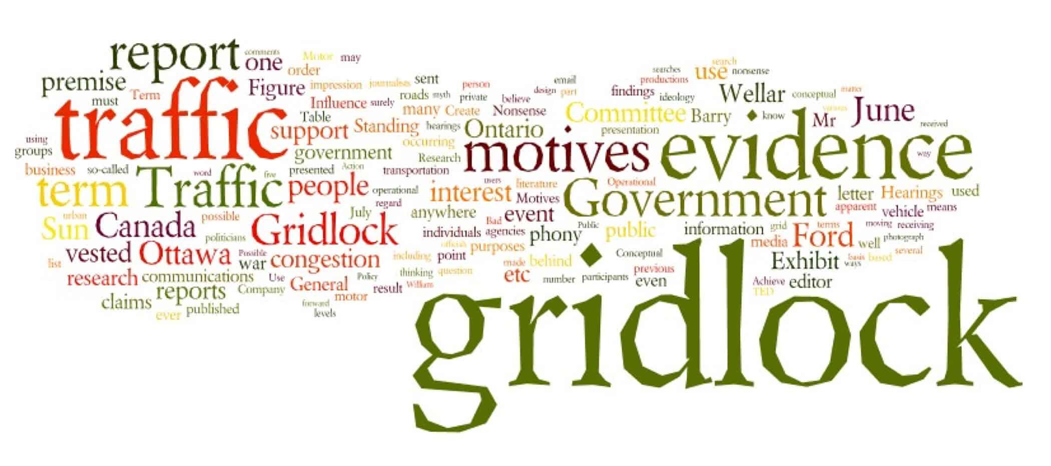 Gridlock text cloud