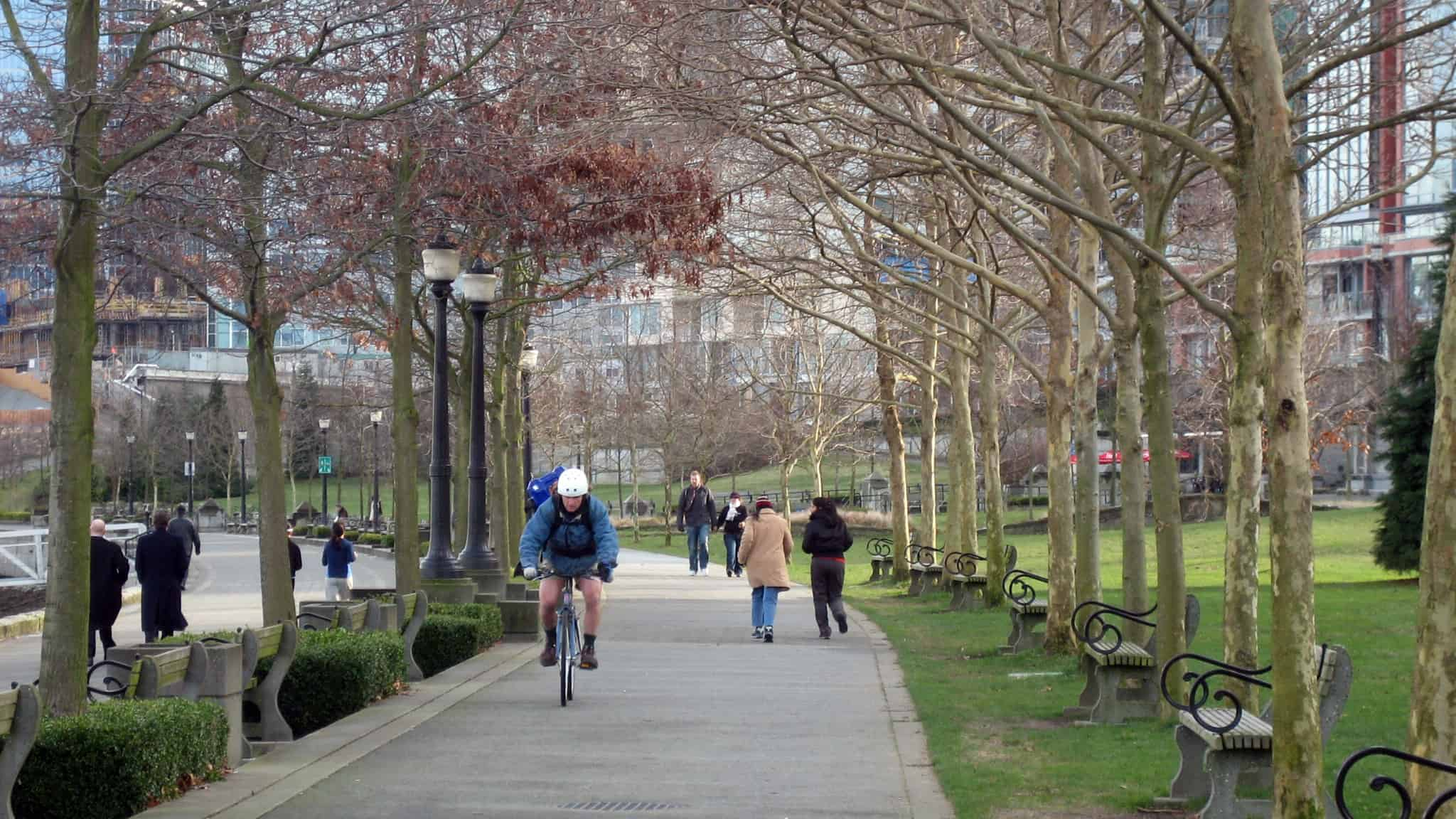 cycling through park on former brownfields